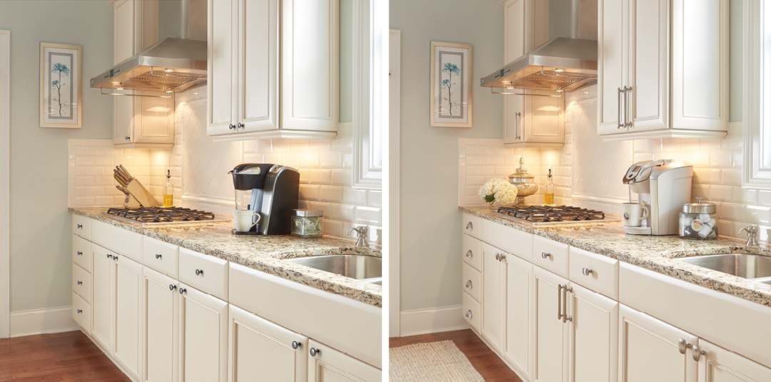 Satin Nickel Bar Pull Knob Amerock Cabinet Hardware Sea Grass Kitchen Before and After 2016 t=